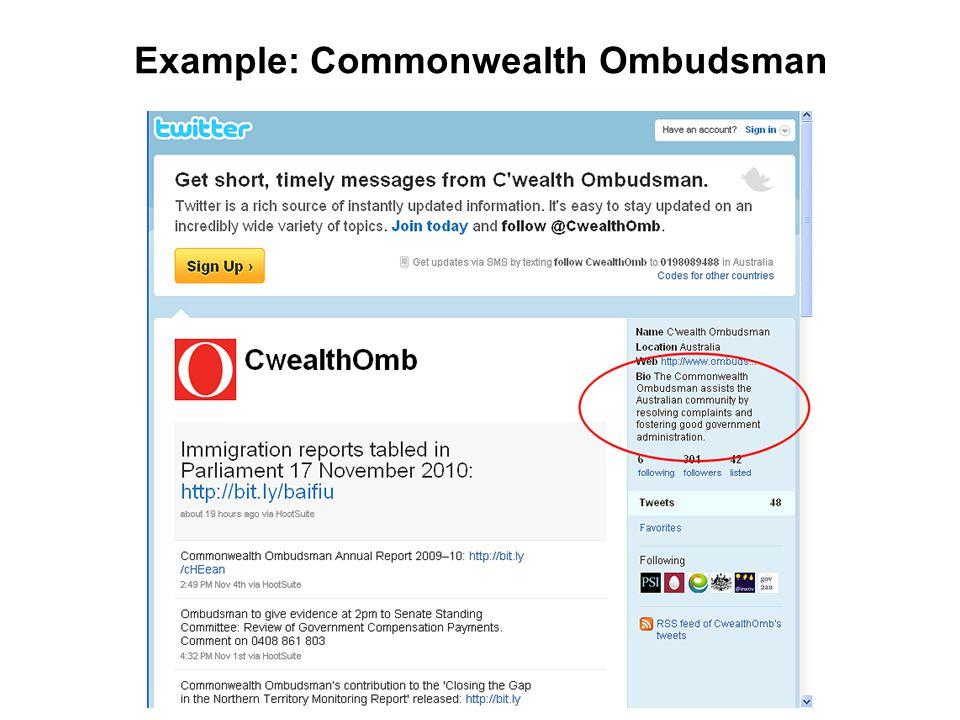 Example: Commonwealth Ombudsman