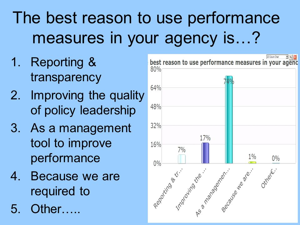 The best reason to use performance measures in your agency is…? 1.Reporting & transparency 2.Improving the quality of policy leadership 3.As a managem