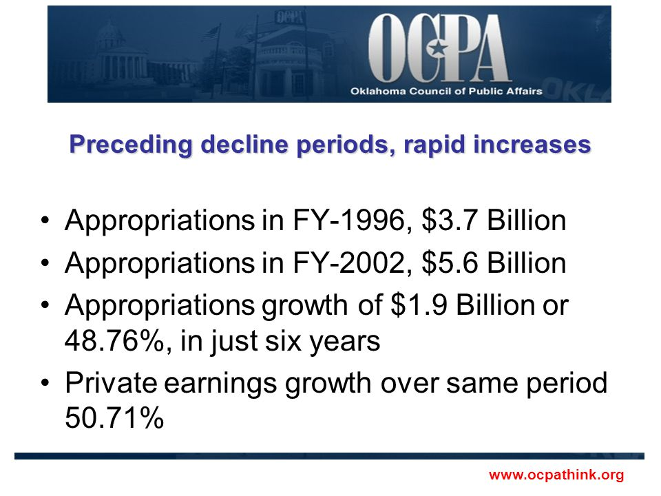Preceding decline periods, rapid increases Appropriations in FY-1996, $3.7 Billion Appropriations in FY-2002, $5.6 Billion Appropriations growth of $1.9 Billion or 48.76%, in just six years Private earnings growth over same period 50.71% www.ocpathink.org