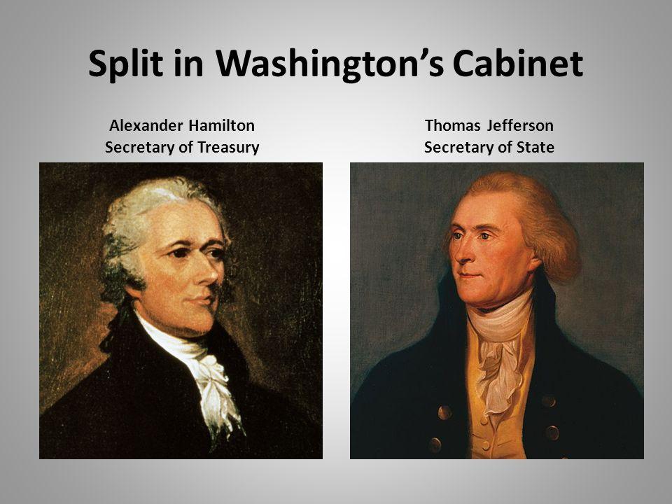 Split in Washington's Cabinet Alexander Hamilton Secretary of Treasury Thomas Jefferson Secretary of State