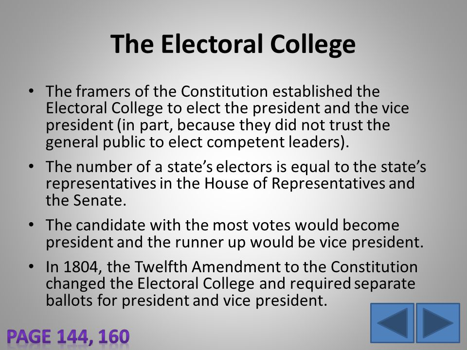 The Electoral College The framers of the Constitution established the Electoral College to elect the president and the vice president (in part, becaus