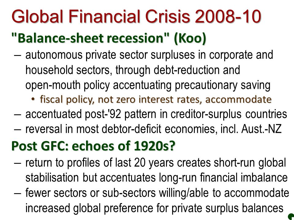 Global Financial Crisis 2008-10 Balance-sheet recession (Koo) – autonomous private sector surpluses in corporate and household sectors, through debt-reduction and open-mouth policy accentuating precautionary saving fiscal policy, not zero interest rates, accommodate fiscal policy, not zero interest rates, accommodate – accentuated post- 92 pattern in creditor-surplus countries – reversal in most debtor-deficit economies, incl.
