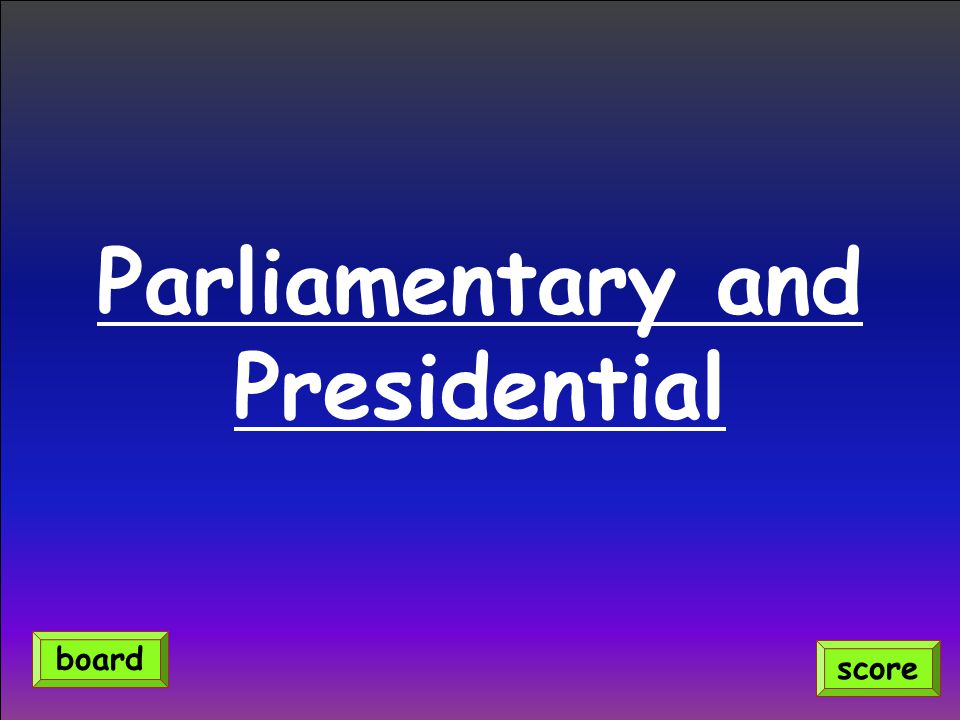 Parliamentary and Presidential score board