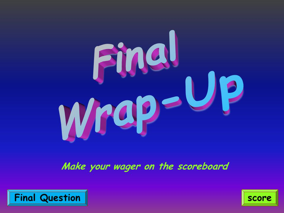 Make your wager on the scoreboard scoreFinal Question