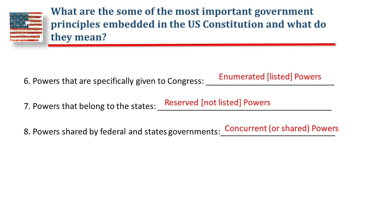 What are the some of the most important government principles embedded in the US Constitution and what do they mean.