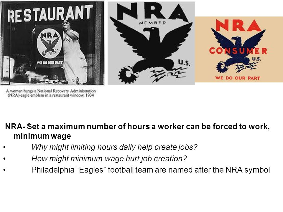 NRA- Set a maximum number of hours a worker can be forced to work, minimum wage Why might limiting hours daily help create jobs? How might minimum wag