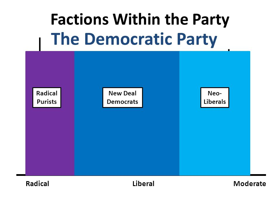 Factions Within the Party RadicalLiberalModerate The Democratic Party Radical Purists New Deal Democrats Neo- Liberals