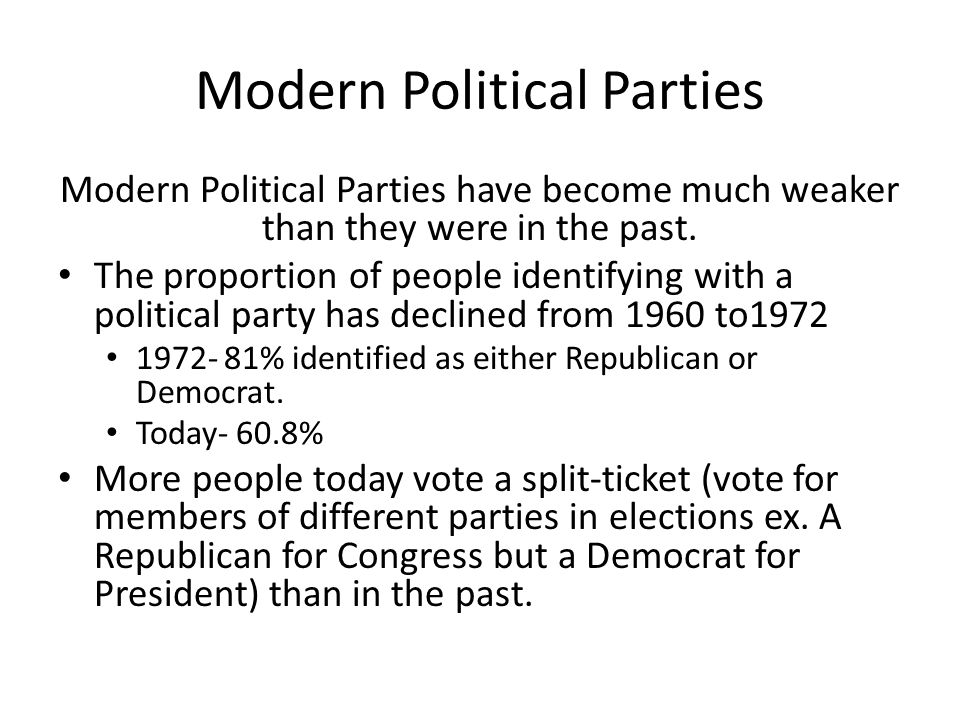 The Modern Democratic Party Evolution….