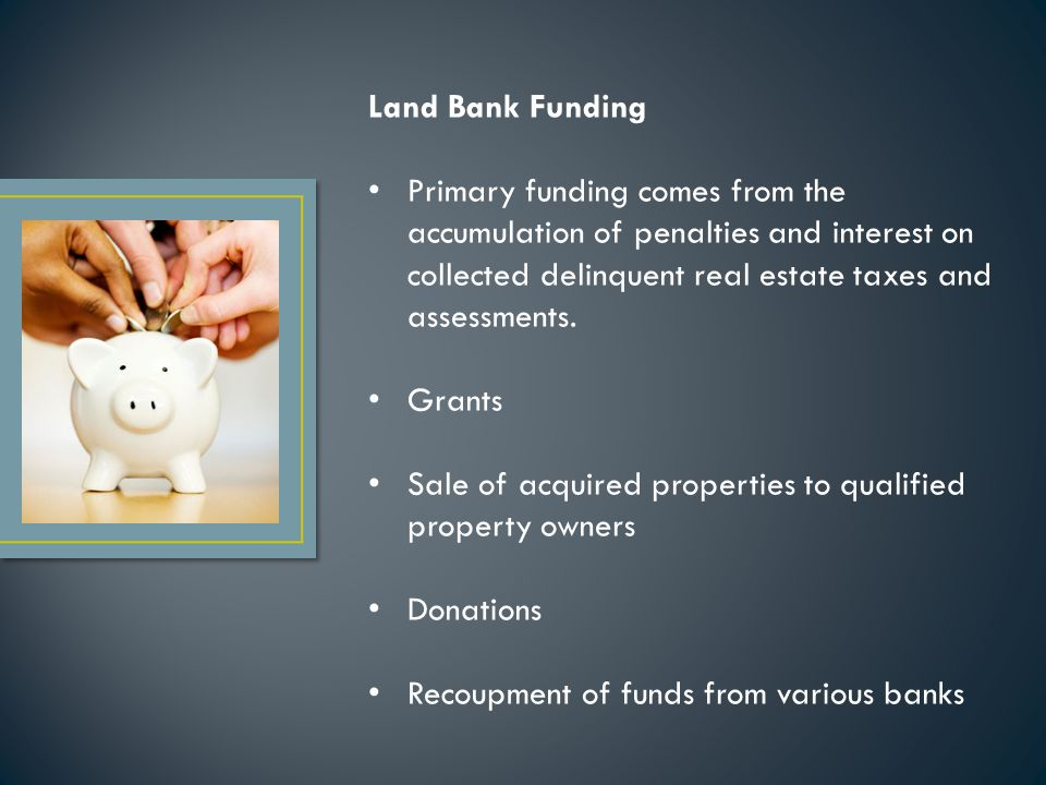 Land Bank Funding Primary funding comes from the accumulation of penalties and interest on collected delinquent real estate taxes and assessments.