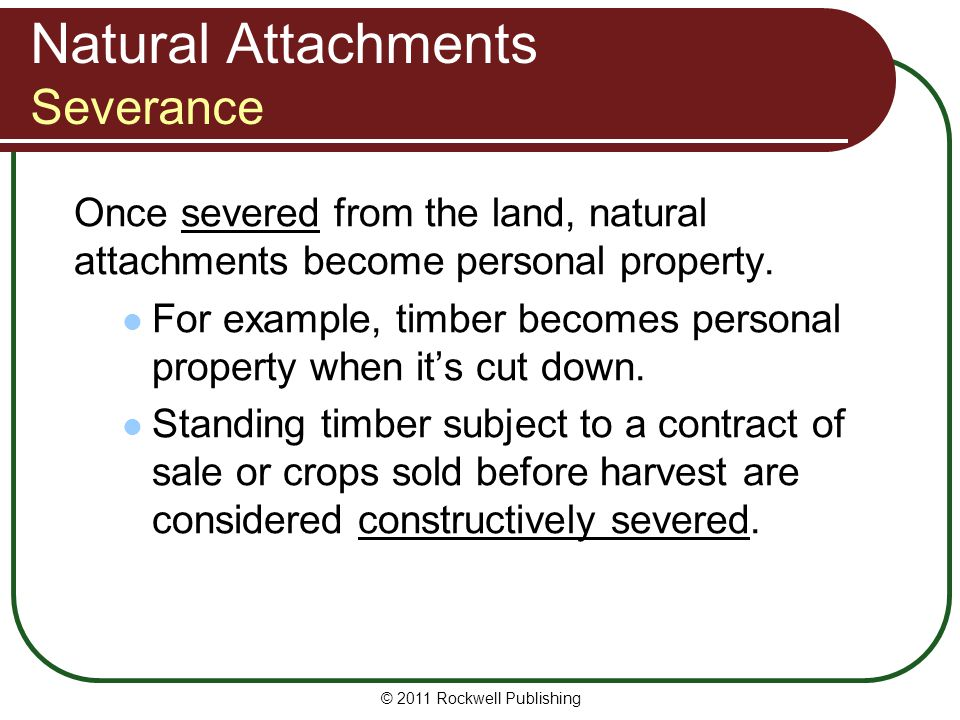 © 2011 Rockwell Publishing Natural Attachments Severance Once severed from the land, natural attachments become personal property. For example, timber