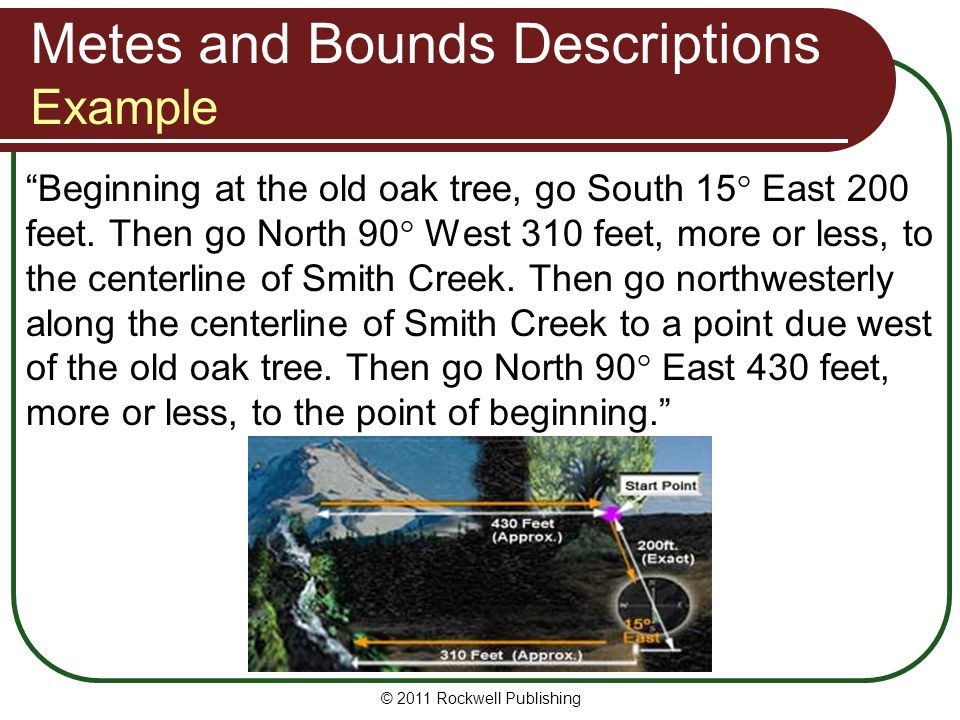 "© 2011 Rockwell Publishing ""Beginning at the old oak tree, go South 15° East 200 feet. Then go North 90° West 310 feet, more or less, to the centerlin"