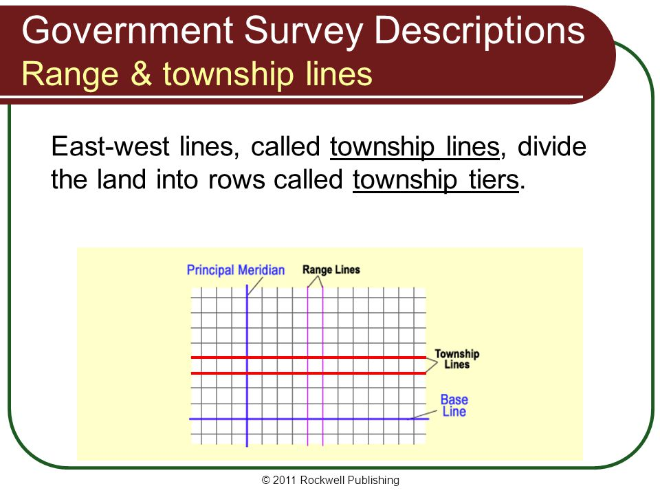 © 2011 Rockwell Publishing East-west lines, called township lines, divide the land into rows called township tiers. Government Survey Descriptions Ran