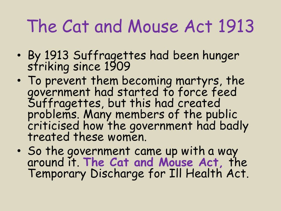 The Cat and Mouse Act 1913 By 1913 Suffragettes had been hunger striking since 1909 To prevent them becoming martyrs, the government had started to force feed Suffragettes, but this had created problems.