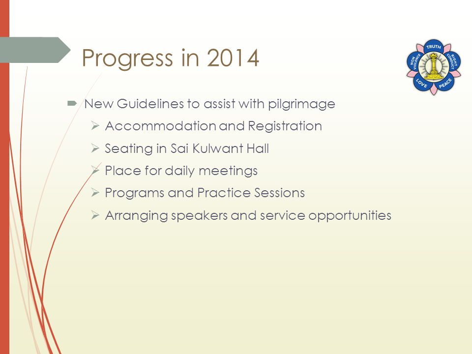 Progress in 2014  New Guidelines to assist with pilgrimage  Accommodation and Registration  Seating in Sai Kulwant Hall  Place for daily meetings