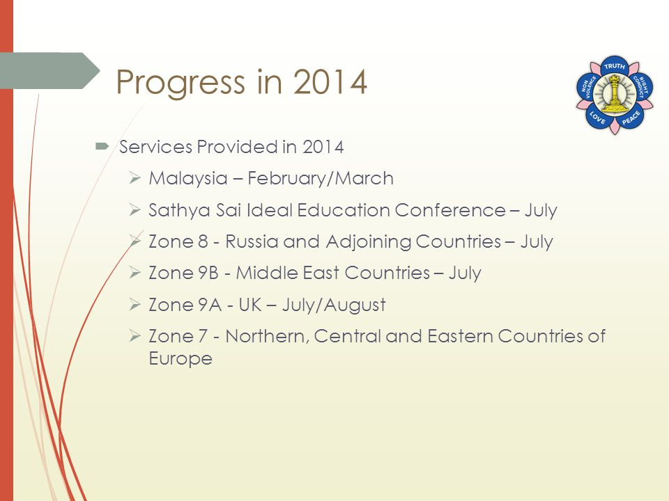 Progress in 2014  Services Provided in 2014  Malaysia – February/March  Sathya Sai Ideal Education Conference – July  Zone 8 - Russia and Adjoinin