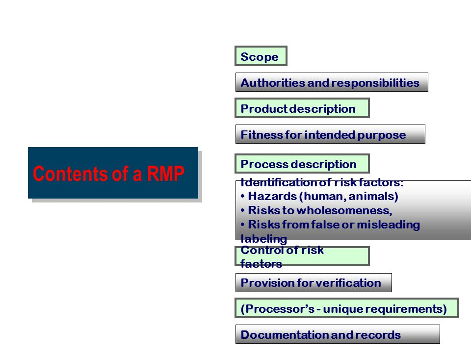 Contents of a RMP Scope Authorities and responsibilities Product description Fitness for intended purpose Process description Control of risk factors