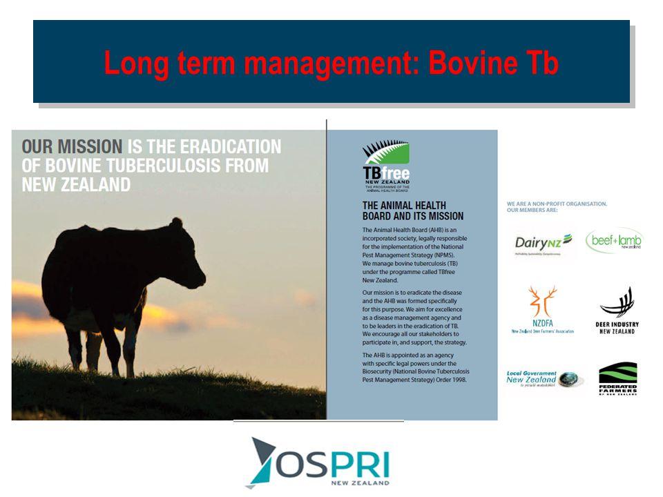 Long term management: Bovine Tb