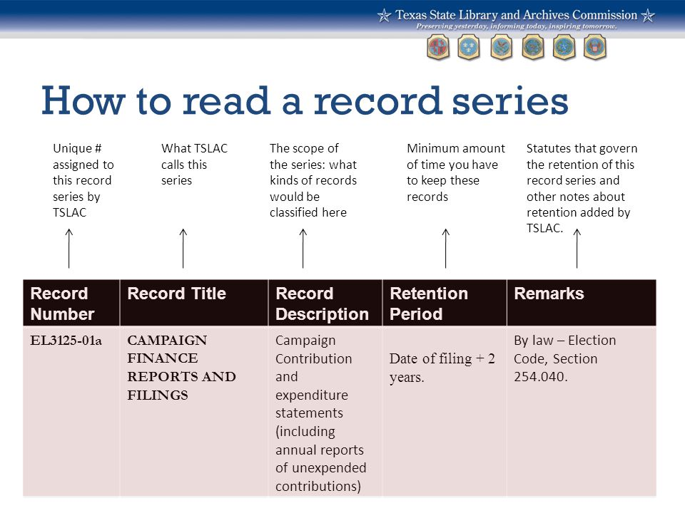 How to read a record series Record Number Record TitleRecord Description Retention Period Remarks EL3125-01aCAMPAIGN FINANCE REPORTS AND FILINGS Campa