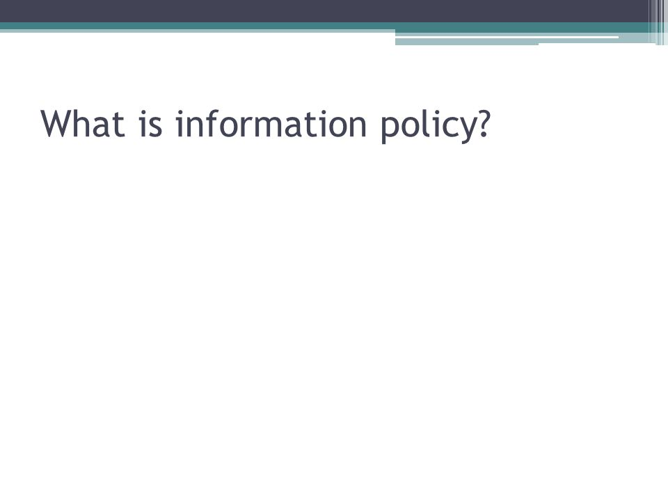 What is information policy?