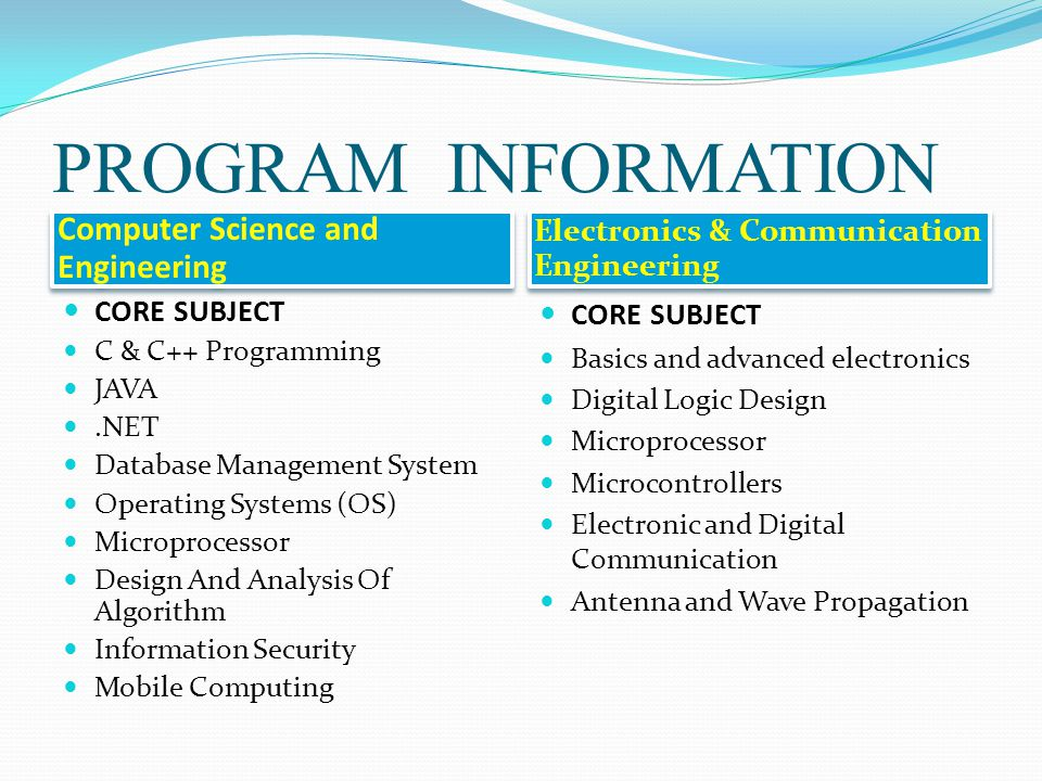 PROGRAM INFORMATION Computer Science and Engineering Electronics & Communication Engineering CORE SUBJECT C & C++ Programming JAVA.NET Database Manage