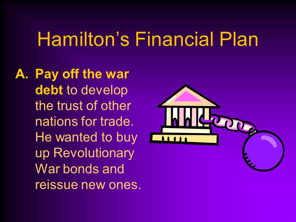 Hamilton's Financial Plan Alexander Hamilton believed that the federal government should be stronger than the state governments.