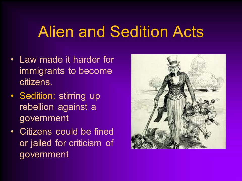 Alien and Sedition Acts During crisis with France, the Federalist Party pushed laws through Congress.
