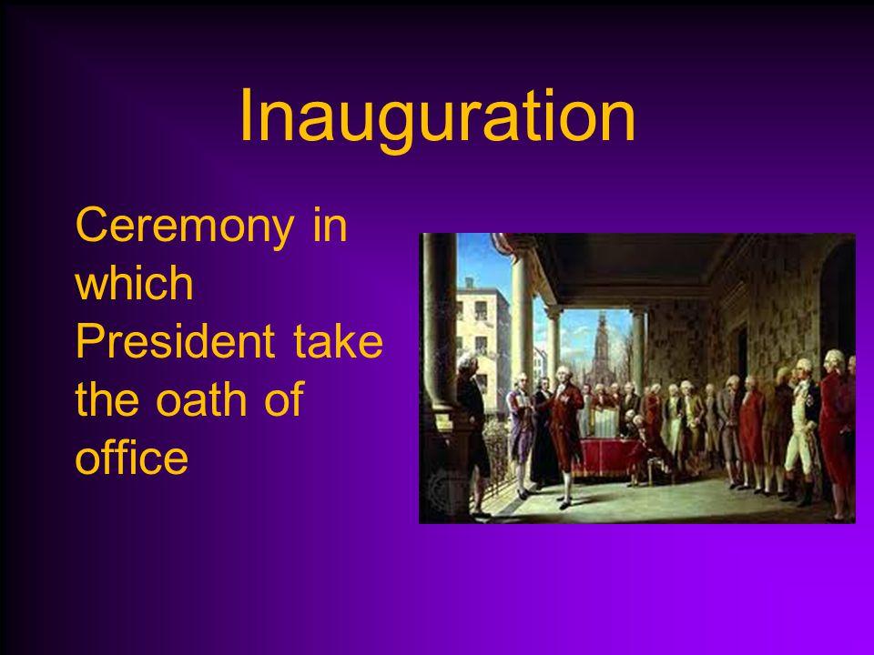 George Washington's Presidency April 30, 1789 Washington (Virginia) is inaugurated (sworn in) as President.