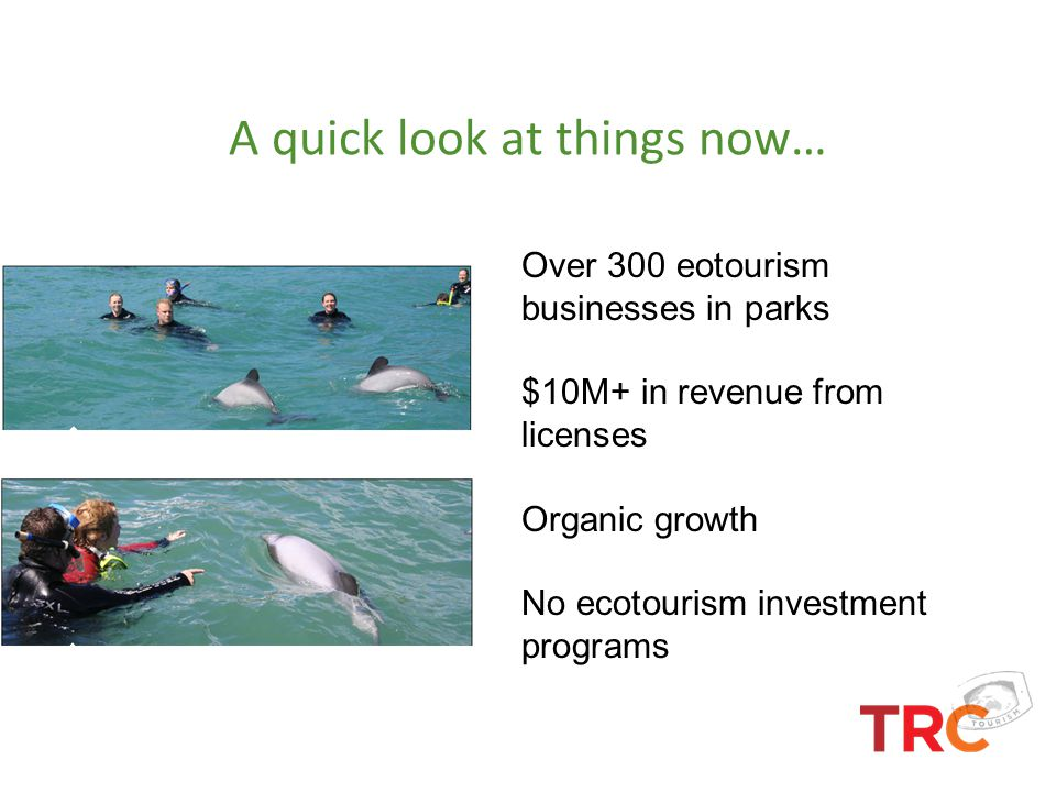A quick look at things now… Over 300 eotourism businesses in parks $10M+ in revenue from licenses Organic growth No ecotourism investment programs