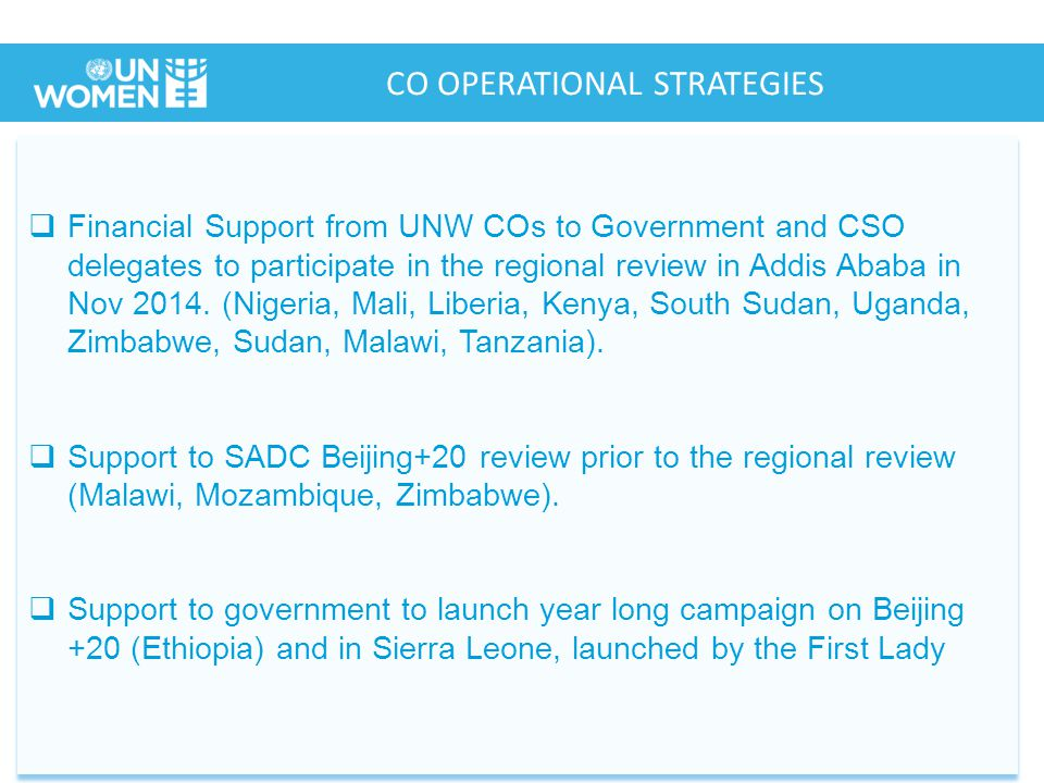  Financial Support from UNW COs to Government and CSO delegates to participate in the regional review in Addis Ababa in Nov 2014.