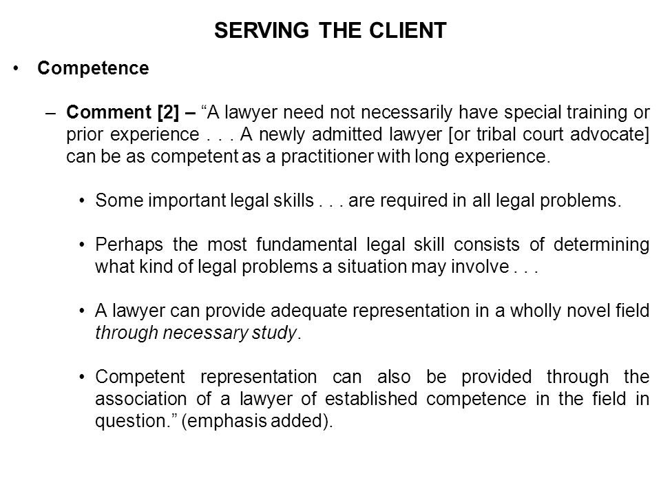 SERVING THE CLIENT Competence –Comment [2] – A lawyer need not necessarily have special training or prior experience...