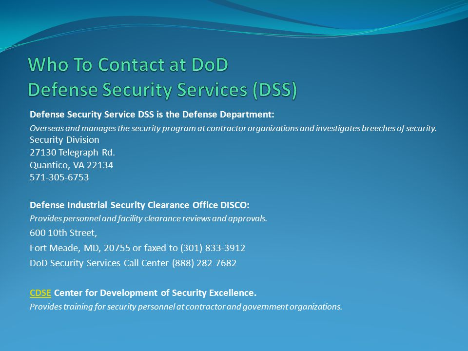  Know the NISPOM: Read and know the NISPOM is key to being a successful FSO and having a successful security program.