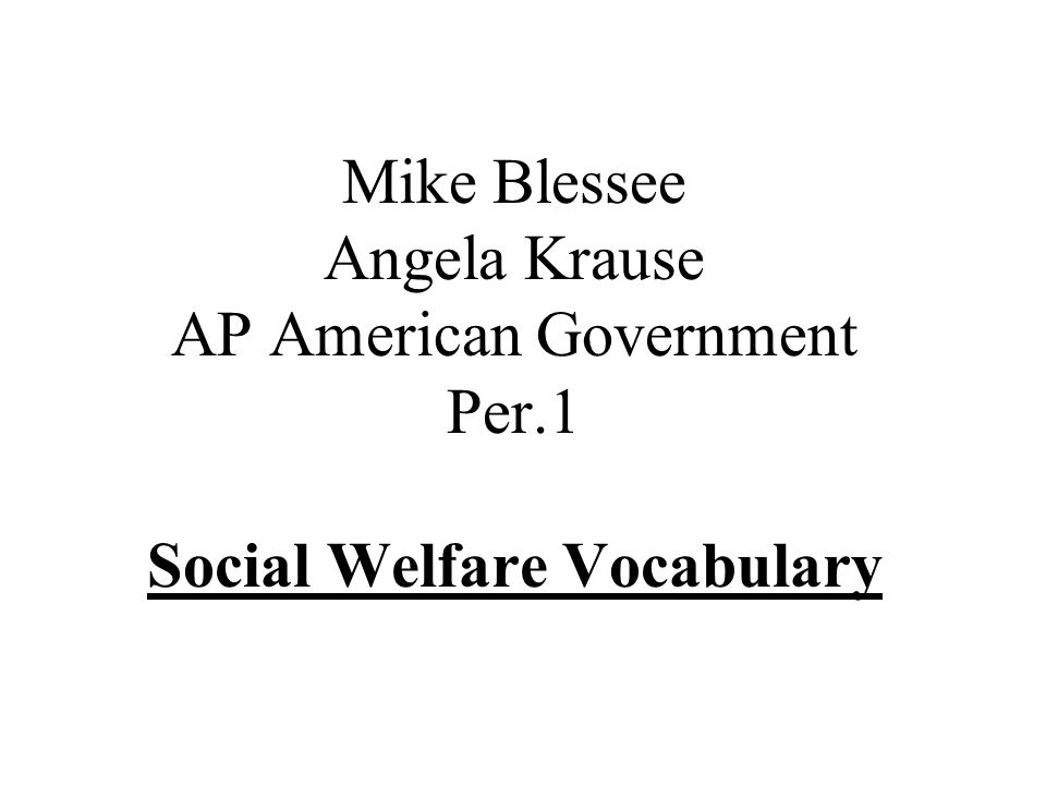 Mike Blessee Angela Krause AP American Government Per.1 Social Welfare Vocabulary