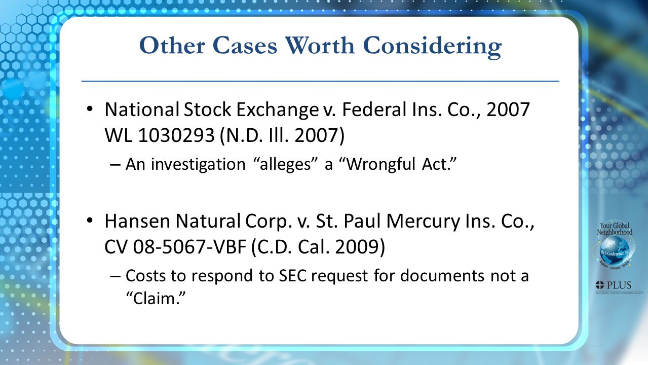 Other Cases Worth Considering National Stock Exchange v.