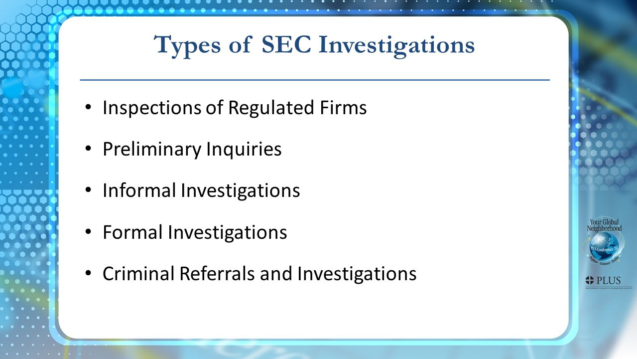 Types of SEC Investigations Inspections of Regulated Firms Preliminary Inquiries Informal Investigations Formal Investigations Criminal Referrals and Investigations