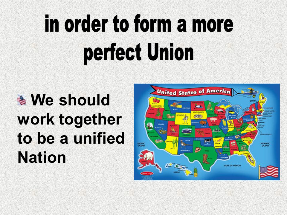 We should work together to be a unified Nation