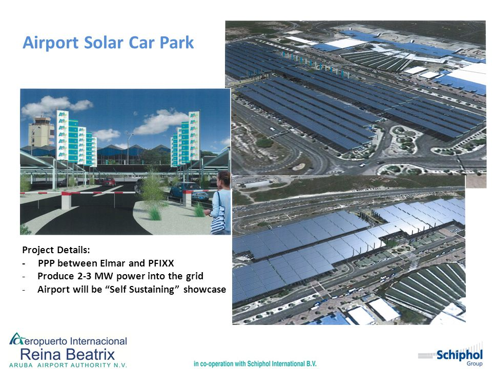 "Airport Solar Car Park Project Details: - PPP between Elmar and PFIXX -Produce 2-3 MW power into the grid -Airport will be ""Self Sustaining"" showcase"