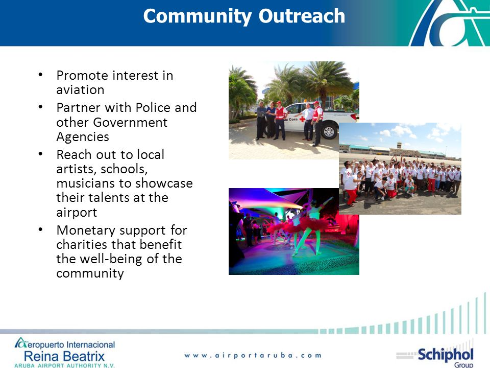 Community Outreach Promote interest in aviation Partner with Police and other Government Agencies Reach out to local artists, schools, musicians to sh