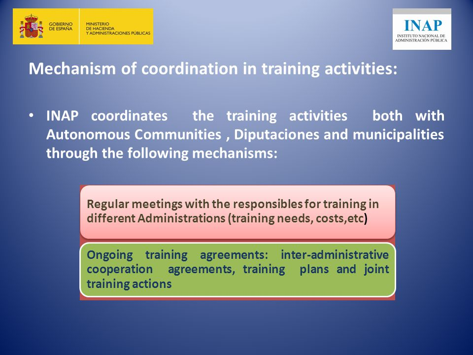 Mechanism of coordination in training activities: INAP coordinates the training activities both with Autonomous Communities, Diputaciones and municipalities through the following mechanisms: Regular meetings with the responsibles for training in different Administrations (training needs, costs,etc) Ongoing training agreements: inter-administrative cooperation agreements, training plans and joint training actions