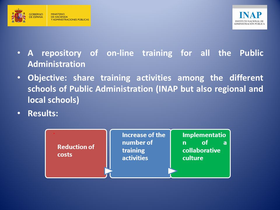 A repository of on-line training for all the Public Administration Objective: share training activities among the different schools of Public Administration (INAP but also regional and local schools) Results:.