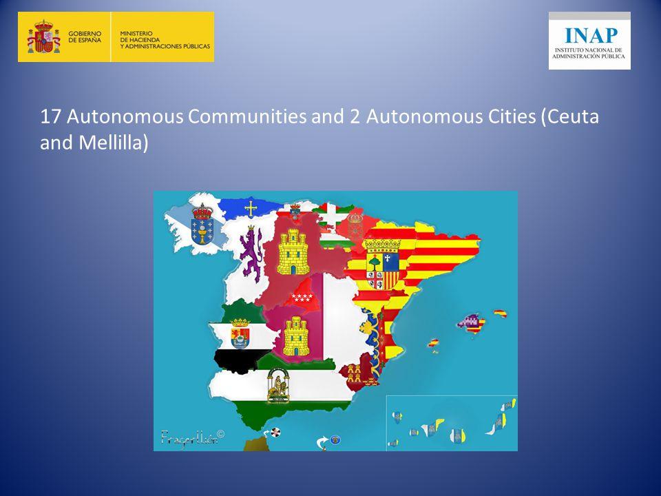17 Autonomous Communities and 2 Autonomous Cities (Ceuta and Mellilla)
