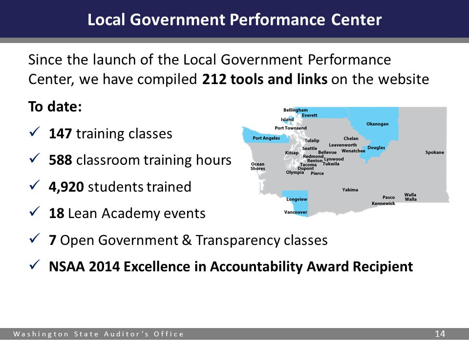 Washington State Auditor's Office 14 Since the launch of the Local Government Performance Center, we have compiled 212 tools and links on the website To date: 147 training classes 588 classroom training hours 4,920 students trained 18 Lean Academy events 7 Open Government & Transparency classes NSAA 2014 Excellence in Accountability Award Recipient Local Government Performance Center