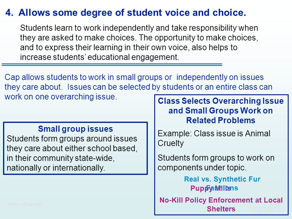 www.crfcap.org 4. Allows some degree of student voice and choice. Students learn to work independently and take responsibility when they are asked to
