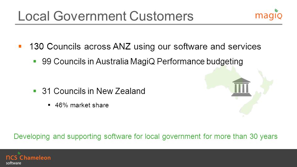 Local Government Customers  130 Councils across ANZ using our software and services  99 Councils in Australia MagiQ Performance budgeting  31 Counc