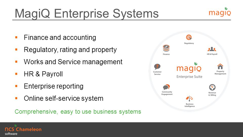 MagiQ Enterprise Systems  Finance and accounting  Regulatory, rating and property  Works and Service management  HR & Payroll  Enterprise reporti