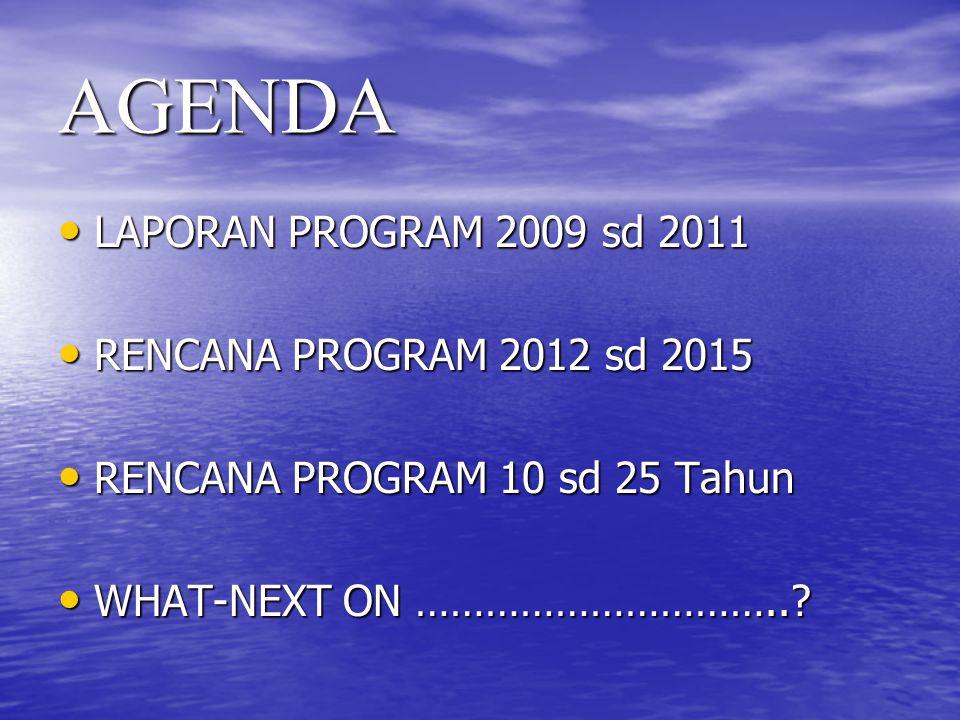 AGENDA LAPORAN PROGRAM 2009 sd 2011 LAPORAN PROGRAM 2009 sd 2011 RENCANA PROGRAM 2012 sd 2015 RENCANA PROGRAM 2012 sd 2015 RENCANA PROGRAM 10 sd 25 Ta