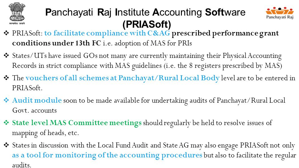  PRIASoft: to facilitate compliance with C&AG prescribed performance grant conditions under 13th FC i.e.