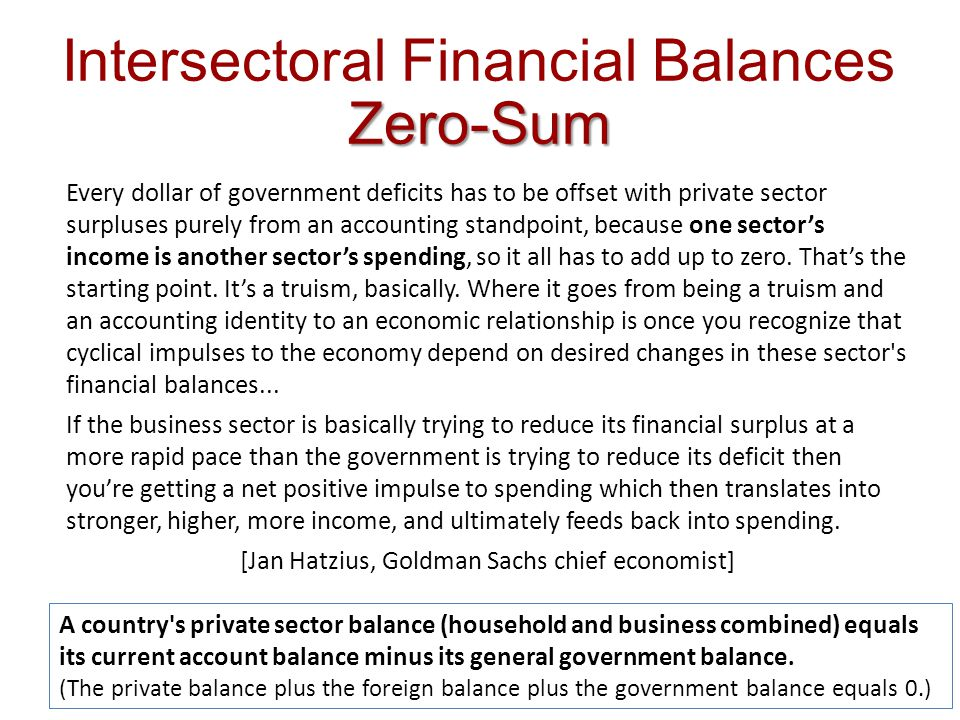 Zero-Sum Intersectoral Financial Balances Zero-Sum Every dollar of government deficits has to be offset with private sector surpluses purely from an a