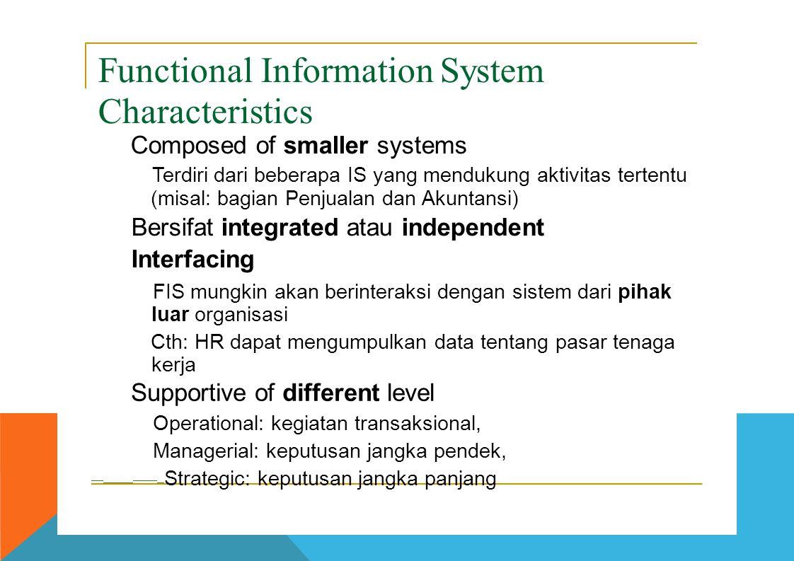Functional Information System Characteristics  Composed of smaller systems  Terdiri dari beberapa IS yang mendukung aktivitas tertentu (misal: bagia