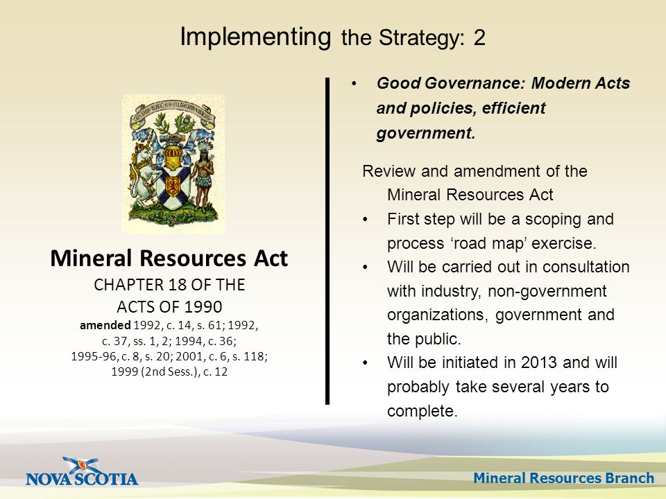 Mineral Resources Branch Mineral Resources Act CHAPTER 18 OF THE ACTS OF 1990 amended 1992, c.