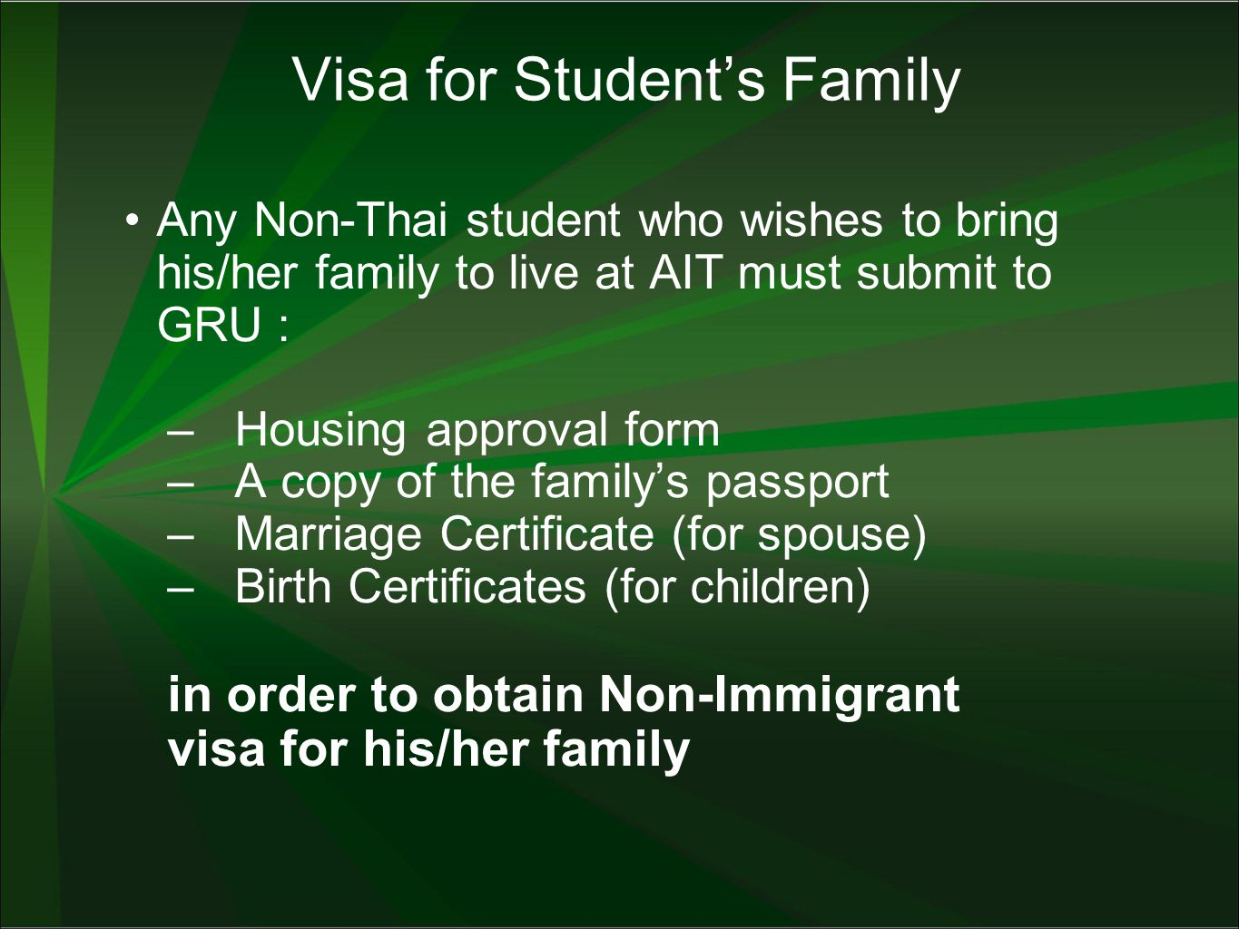 What GRU can do for Students –Checking documents for visa extension –Submission of application to MOFA –Taking students to Immigration office for visa extension –Safe keeping of student's passport at GRU –Facilitate application for extension of student's visa, and re-entry visa –Send reminding notes to student for 90-day report –Facilitate the submission of 90-day report to Immigration Office